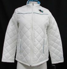San Jose Sharks NHL Women's Full Zip Quilted Puffer Jacket White S M L XL