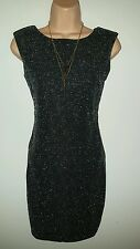EVITA Womens black & silver matallic dress occasion party back detail size 8/10