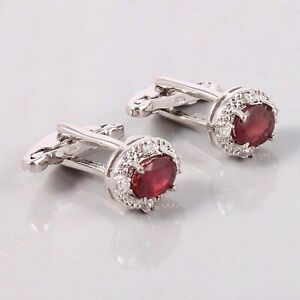 925 Sterling Silver Cuff-links With Gemstone Red Ruby Size 7X5 Oval Shape