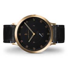 Lilienthal Berlin Uhr-Made in Germany- Edelstahl Vergoldet Leder Schwarz B-Ware
