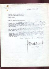 LETTRE SIGNEE par Georges DUHAMEL à Michel de SAINT-PIERRE en 1958
