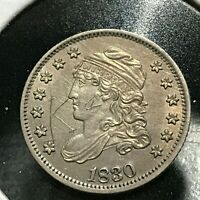 1830 SILVER CAPPED BUST HALF DIME UNCIRCULATED DETAILS WITH GRAFFITI