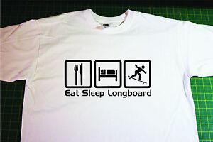 Eat, Sleep, Longboard T-Shirt. In White. Size Large. Skate, Skateboard