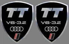 2 adhésifs stickers noir et chrome AUDI TT V6 3.2  (idéal pour ailes avant)