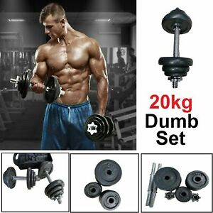 CAST IRON 20KG DUMBBELL SET Fitness Free Exercise Home Gym Bicep Weight Training