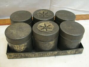 Early Tin Spice Box Kitchen Canister Set Tote Shaker Grand Union Tea Jar Caddy