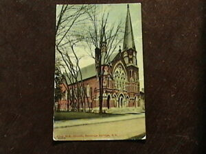 Posted Postcard of First M.E. Church Saratoga Springs New York with 1 Cent Stamp