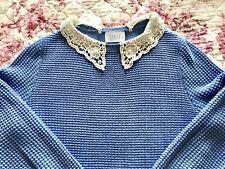 Savida | Vintage 1940s Style | Blue | Lace Collar Jumper | Size: S | EU 36- 38 |