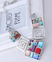 New Women Square Acrylic Chain Statement Necklace Earrings Set Wedding Choker