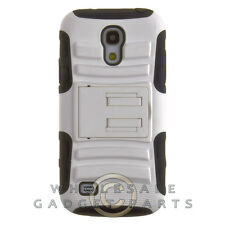 Samsung Galaxy S4 Mini Hybrid H Case with Stand White Cover Shell Protector Skin