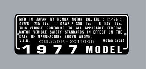 HONDA CB550K & Others  HEADTUBE TAG  / REPRO DECAL