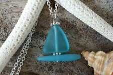 Handmade in Hawaii, Blue sail boat sea glass necklace ,Beach glass necklace, Ste