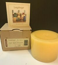 "Longaberger Pint Size Pillar Candle Scented 'Sunny Peach' Yellow Usa 3"" Nib"