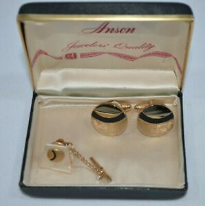 Vintage Anson Jewelers men's cufflinks and tie tack set, gold tone black