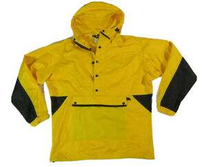 REI Mens Pullover Anorak Half Zip/Button Windbreaker Jacket sz XS Yellow/Black