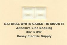 """50 3/4"""" x 3/4"""" Inch Cable Tie Mount Natural White Nylon w/ Adhesive Backing Usa"""