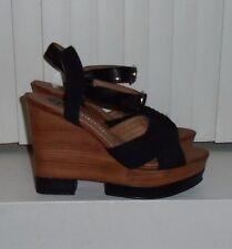 DV by Dolce Vita Black Suede Jersey Platform Wedge Sandals Size 9 $99 NWOB