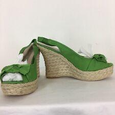 Moda Spana Women's Platform Sandals Size 8.5 Green Wedges Heels Shoes Spain New