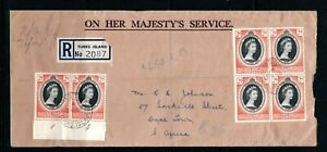 1953 Turks & Caicos Islands QEII Coronation block of 4,plate pair on cover to SA