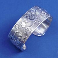 """6.5"""", vtg sterling silver handmade bracelet, Southwestern 925 cuff rose flower"""
