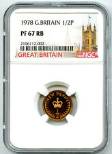 1978 GREAT BRITAIN 1/2P NEW HALF PENNY NGC PF67 RB PROOF TOP POP ONLY 1