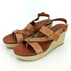 Lucky Brand Espadrille Wedge Heel Sandals 10 US Womens Brown Strappy Open Toe