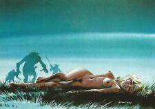 DANY O. RAMEAU carte postale Colombe dénudée pin up fond bleu N°1