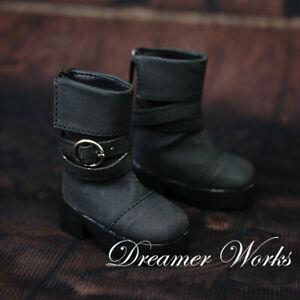 1/4 1/3 BJD Shoes Folding Top Line Buckles Leather Short Boots Black AOD LUTS