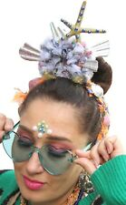 Mermaid Pom Pom Flower Crown Headband Festival Boho Psytrance Headdress A