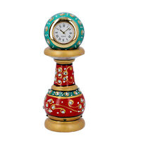 Home Decor Red Green Handcrafted Little India Ethnic Design Marble Table Clock