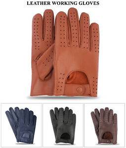 Mens Classic Retro style Chauffeur Soft Lambskin Leather Driving Quality Gloves