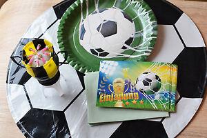 Fußball Geburtstag 8 Pappteller + 8 Einladung + 4 Folienballon + 1 Musik Kerze
