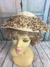1930s Straw Wide Brimmed Summer Hat Flower Trim with White Gloves