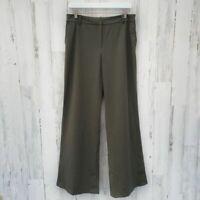 Lafayette 148 New York Army Green Wool Wide Leg Dress Pants Trousers Size 12