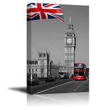 British Flag and the Red Bus in London- Canvas Art Home Decor - 12x18 inches