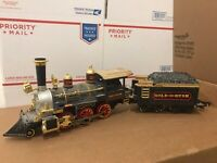 New Bright G-Scale Gold Rush Express Train Engine & Coal Tender Car Vintage
