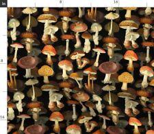 Vintage Mushrooms Antique Fungus Historical Fabric Printed by Spoonflower BTY