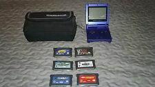 Nintendo Game Boy Advance SP  Cobalt Blue Bundle w/ 6 games and case NO CORDS