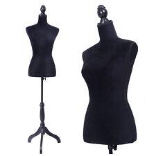 Black Female Mannequin Torso Clothing Display W/Black Tripod Stand New