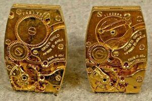 Vintage Cuff Links Gold Gruen Guild Watch Works CuffLinks Steampunk Dante