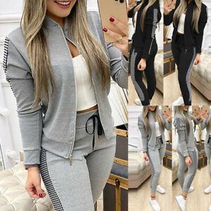 UK Womens 2Pcs Tracksuit Zipper Coats + Pants Set Ladies Sport Wear Lounge Wear