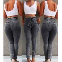 High waist elastic slim denim Womens stretch long pencil skinny trousers pants