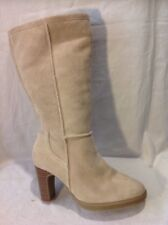 Fiore Leather Beige Mid Calf Suede Boots Size 5