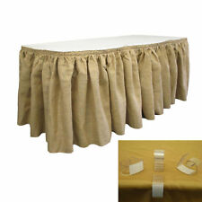 LA Linen Burlap Table Skirt 21 Foot by 29-Inch with 20 L-clips, Natural