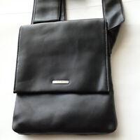 Vintage Nine West Black Genuine Leather Cross Body Shoulder Bag Tote Very Rare!