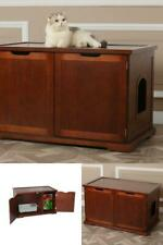 New listing Large-Walnut-Cat-Litter -Box Pet-House Wooden-Indoor-Enclosure-C abinet-Bench New