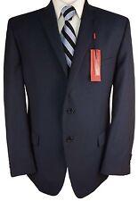 #X342 NEW ALFANI Navy Blue Pindot Wool Blend Two Button Slim Fit Suit Jacket 42S