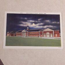 Vintage Postcard High School By Night, Bristol, Tenn.
