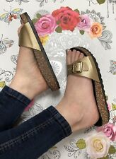 Gold Slider Sandals Size 5 Buckle Metallic Flip Flop Footbed Faux Leather