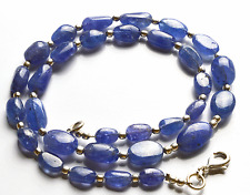 """131 CT 16"""" NATURAL TANZANITE SMOOTH NUGGETS  BIG BEADS NECKLACE 7 TO 13 MM"""